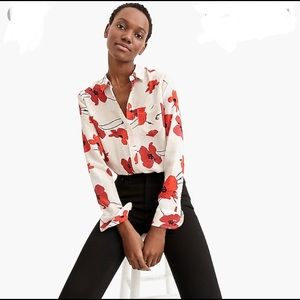 NWT JCrew Poppy Print Silk Blouse